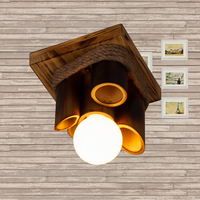 Led ceiling light fixtures 5w 7w 12w surface mounted for living room aisle loft vintage ceiling lamp wood+cord+bamboo 110V 220V