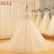 SL 521 Vintage Sweetheart Lace Applique Full Sleeve Wedding Dress 2018