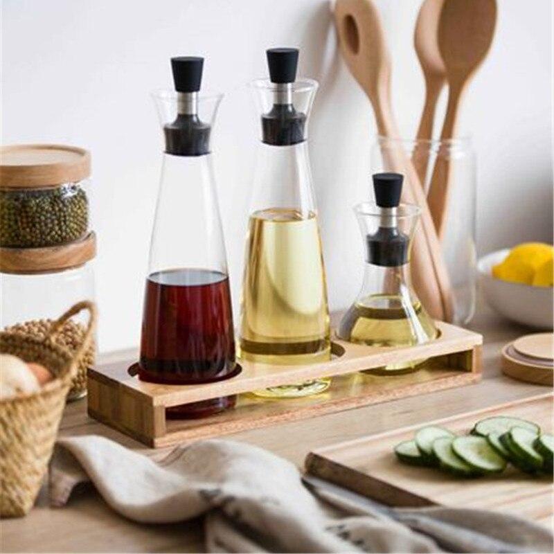 KINGLANG grand pot d'huile en verre étanche bouteille de sauce soja huile de sésame assaisonnement bouteille ensemble cuisine ménage bouteille de vin