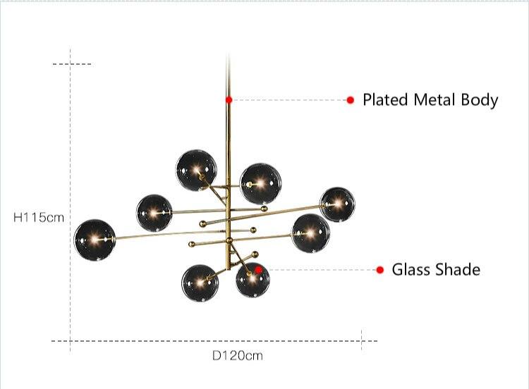 Bolha de vidro moderno lustre lâmpada para