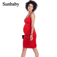 Sunbaby New Fashion Multi Color Maternity Clothes Singlet Nice Bamboo Fiber Fabric Party Maternity Dress Casual Pregnancy Dress
