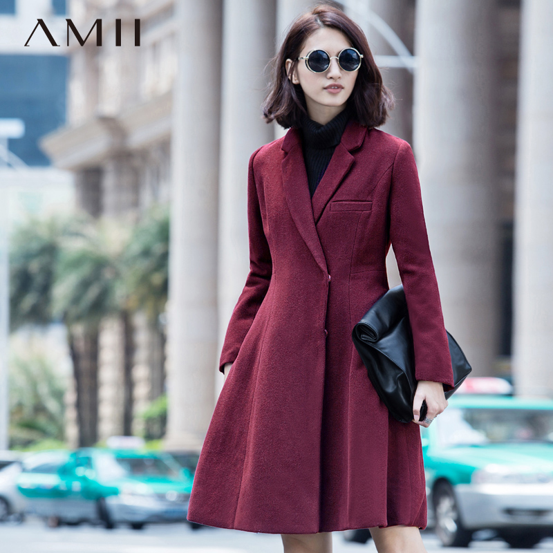 Amii Casual Women Woolen Coat 2018 Winter A-Line Covered Button Turn-down Collar Female Wool Blends