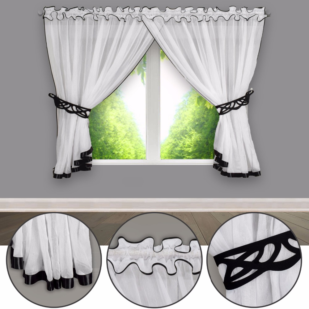 Tulle Voile Dyeing Color Pleated Window And Kitchen Showcase With Laser Carving Ladder Belt