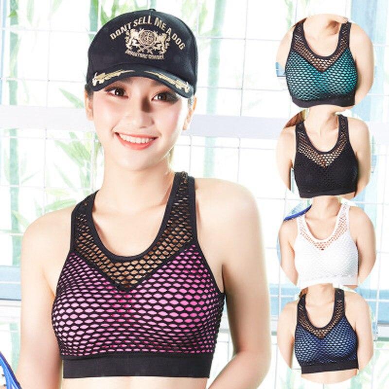 Ademend Mesh Sport Bh Top Vrouwen Hollow Out Cross Schokbestendig Push Up Yoga Bras Voor Fitness Running Gym Vest Top 2018 Nieuwste