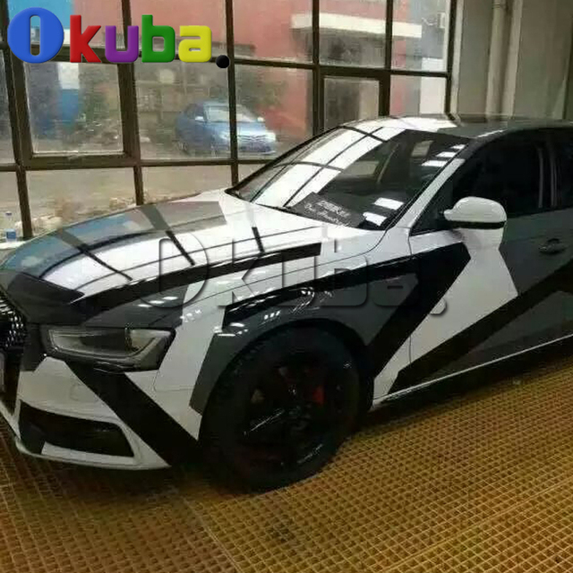 high quality arctic camo vinyl white black car wrapping with air rlease pixel camo camouflage car