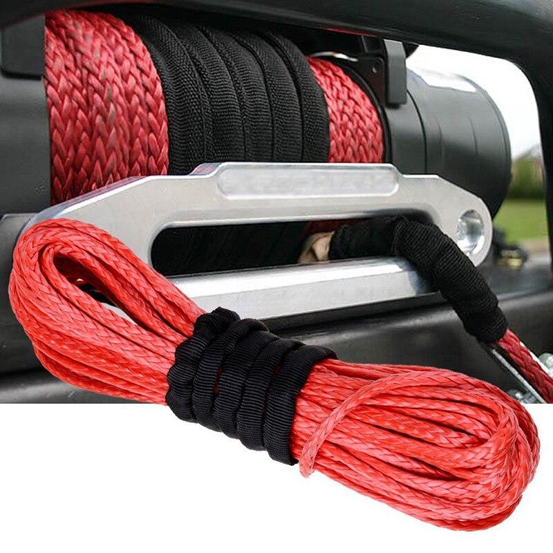 15 м * 6 мм 1/4 х 50 7000lbs Красный синтетический трос лебедки кабельной линии с крюком для ATV utv внедорожных ...