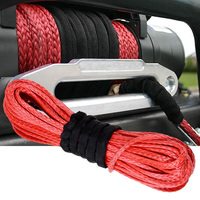 15m 6mm 1 4 X 50 7000lbs Red Synthetic Winch Rope Cable Line With Hook For