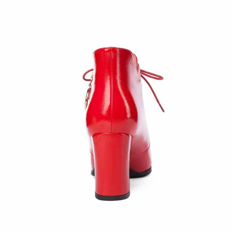 MLJUESE 2019 kadın yarım çizmeler kış lace up sivri burun siyah renk yüksek topuklu kış sıcak kürk botları kadın botları boyutu 33-40