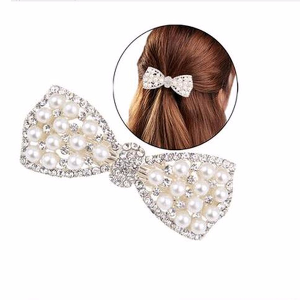 Hot Sale Fashion Women Girls Crystal Rhinestone Bow Hair Clip Beauty Hairpin