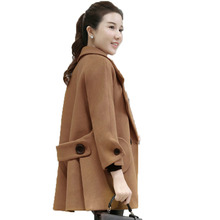 WAEOLSA Women Elegant Tweed Peacoat Beige Purple Woollen Blend Overcoats Woman Oversized Blends Coat Lady Winter Jackets Outfits(China)