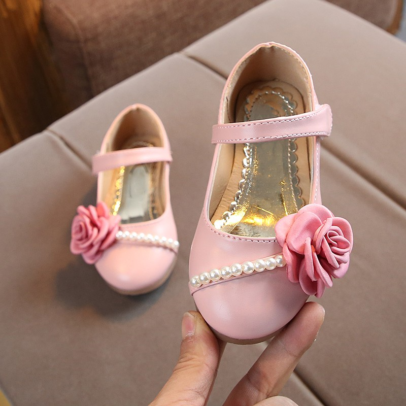 Spring Kids Princess Girls Floral Shoes 3 Colors Baby Girls Pearl Rose Shoes PU Plus Beef Tendon Children's Shoes 0-6Ynew