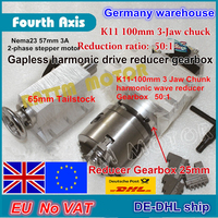 4th rotary axis Gapless harmonic reducer Gearbox 3 jaw K11 100mm dividing head&65mm Tailstock for CNC ROUTER MACHINE