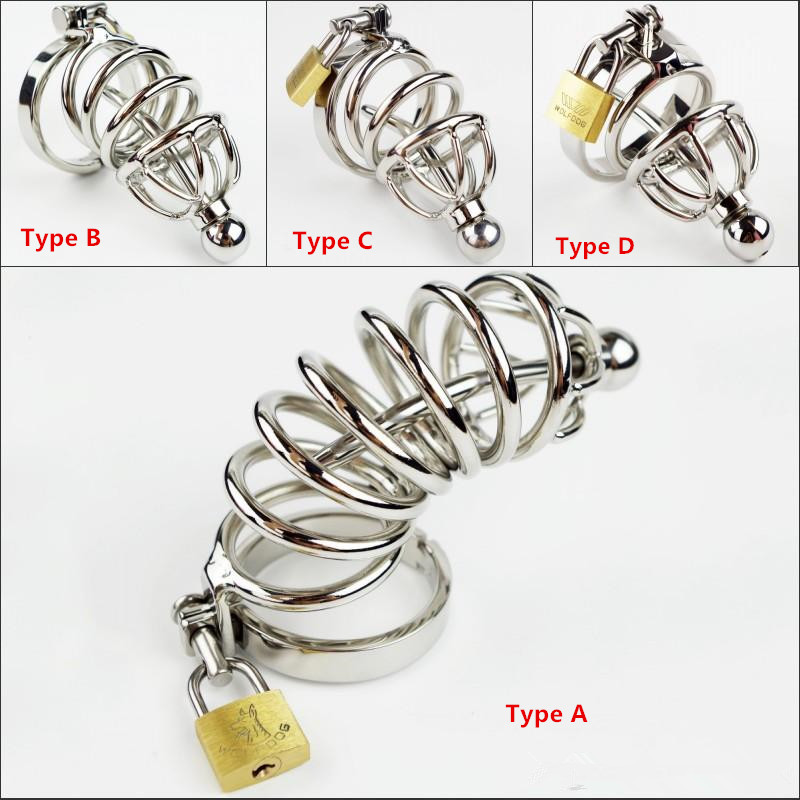 Hot Selling Male Chastity Cage With Metal Urethral Catheter Stainless Steel Chastity Belt Bondage Fetish SM Sex Toys