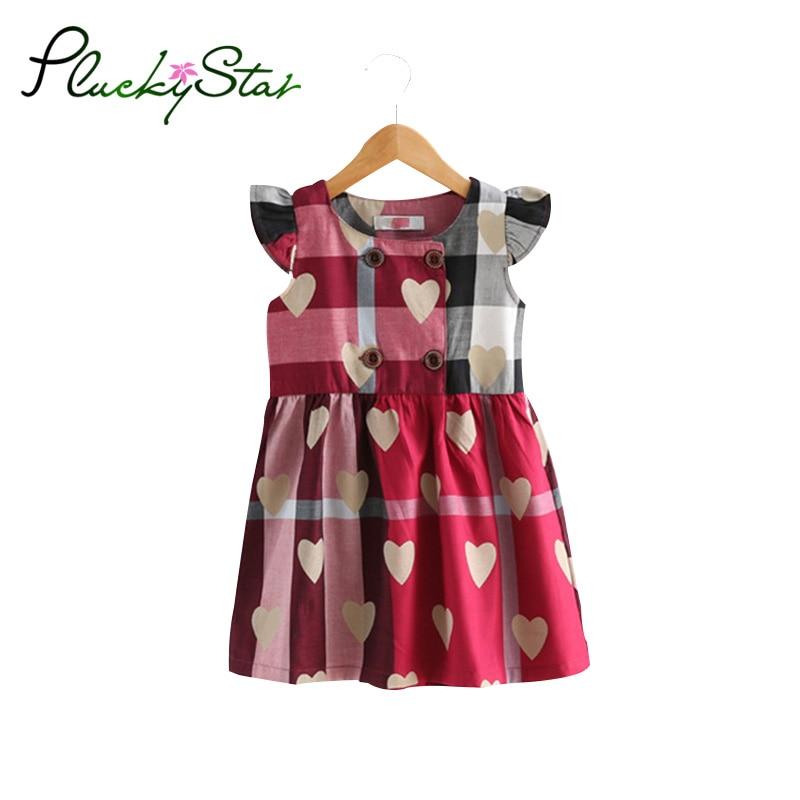 Pluckystar Casual Plaid Girl Dress Summer A-Line Dresses For Girls Cotton Children Clothes 3-11 Years vestidos meisjes jurk D33