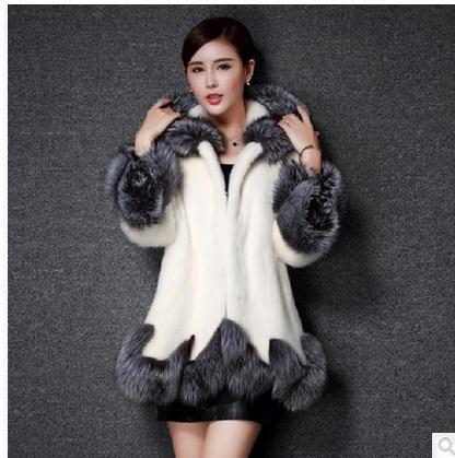 Black White Womens Patchwork Casual Long Section Faux Mink Fur