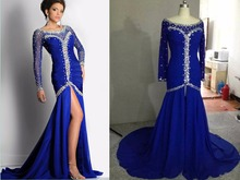 2015 Luxury Original Royal Blue Black Mermaid Evening Dress Long Sleeves Split Front Crystal Pageant Prom Dress