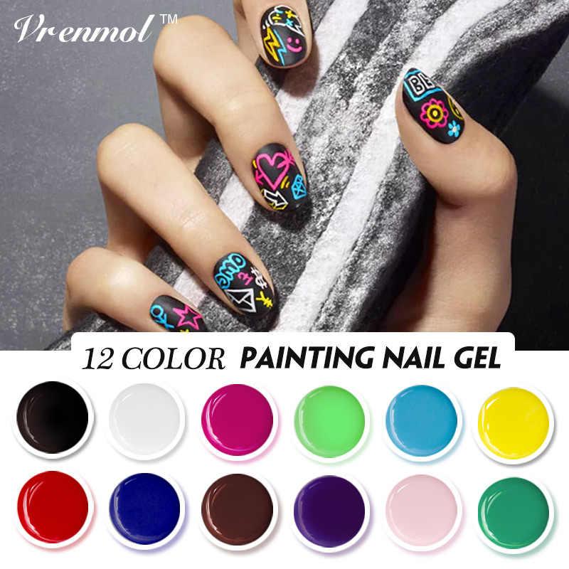 Vrenmol Art des ongles conception peinture Gel UV Semi Permanent Gel encre 3D Nail Art dessiné peinture couleur Vernis Gel glaçure Vernis à ongles Gel Vernis