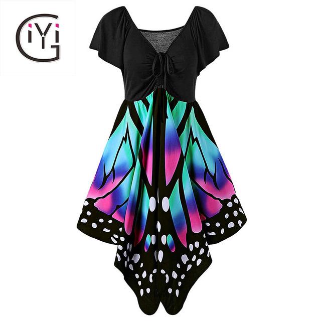 GIYI Plus Size 5XL 4XL Empire Waist Butterfly Print Dress Big Size Women Sexy V Neck Beach Party Dresses Summer 2017 Sundress