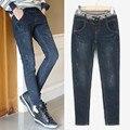 Бесплатная доставка 2016 весной новые женщины большой размер полная длина середине талии тощие прямые джинсы