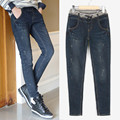 free shipping 2016 spring new women  big size full-length mid waist skinny straight jeans