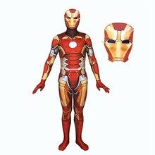 Movie Avengers Endgame Iron Man Tony Stark Suit Zentai Bodysuit Cosplay Costume Jumpsuit Rompers