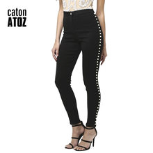 df85332dc8a catonATOZ 2179 Women's Big Plus Size High Waist Side Pearl Jeans Skinny  Denim Pants Trousers Stretch Jeans For Women
