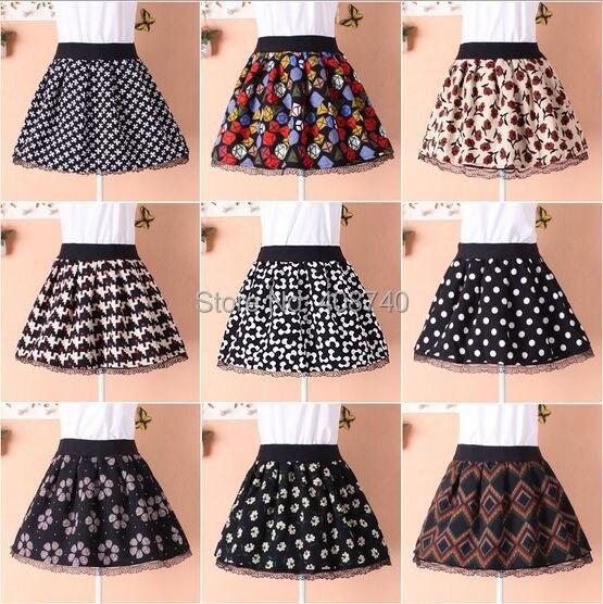 54bc63876e0d Floral Polka Dots Plaid Geometric Flower Pattern Pleated Mini Skirt Saia  For Women Autumn Winter Wool Lace Short Skirts Faldas