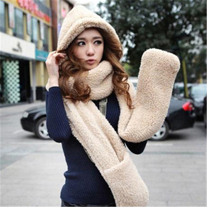 Spring Warm Hat Scarf With Gloves 3 In 1 Cartoon Cute Berber Fleece Animal For Men And Women