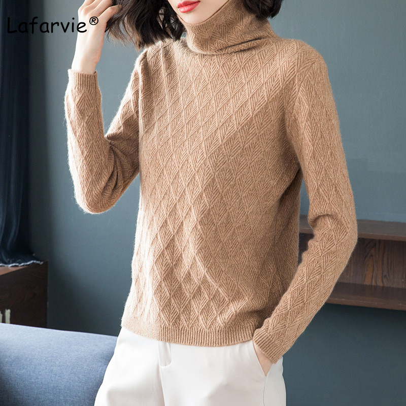 Lafarvie Quality Turtleneck Knitted Sweater Women Autumn Winter Argyle Pattern Long Sleeve Thick Warm Soft Pullover Female S-XXL