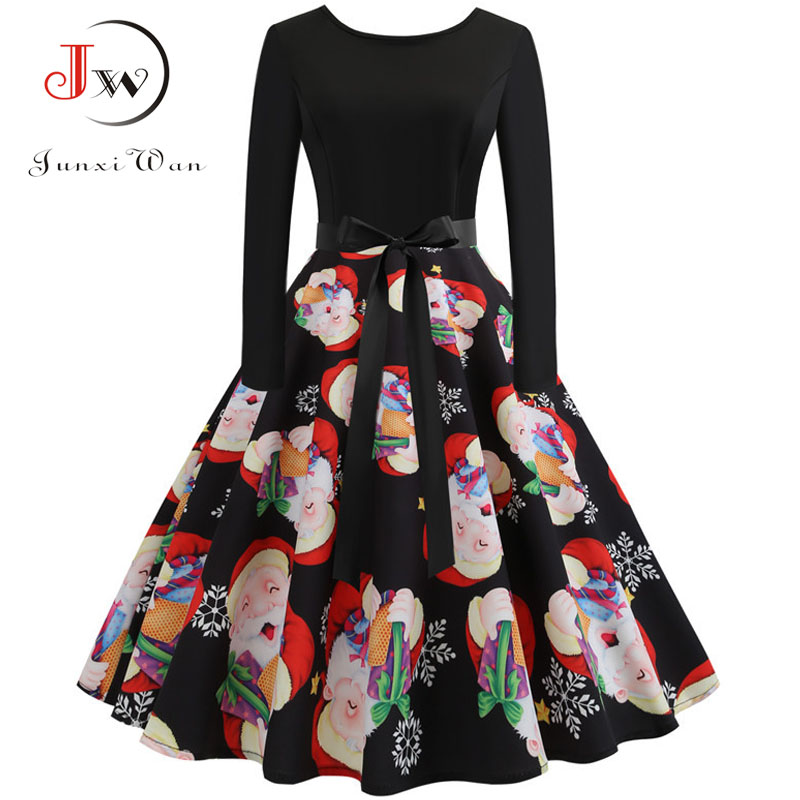 Winter Women Christmas Dress Long Sleeve Print Vintage Party Dress Elegant Black Patchwork Bodycon Dresses Vestidos Plus Size 20