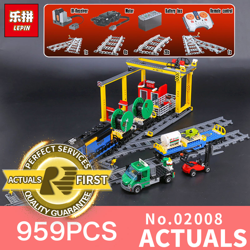 Lepin 02008 959Pcs City Series The Cargo Train Set LegoINGlys 60052 Model RC Building Blocks Bricks Toys for Children Gifts lepin 16002 2791pcs modular pirate ship metal beard s sea cow building block bricks set toys legoinglys 70810 for children gifts