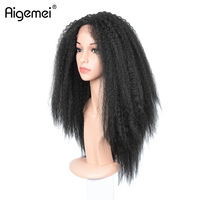 Aigemei Kinky Straight Lace Front Wig Heat Resistant Lace Wig 18inch All Hand Braid Lace Wig