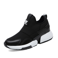Hot Sale Sneakers Women 2019 Elastic Fabric Smile Patform Black Student Casual Shoes Chaussures Femme B0003