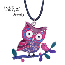 D&Rui Jewelry Owl on a Branch Pendants and Necklaces Women Big Statement Collar Pedant Long Rope Necklace Clothes Accessories