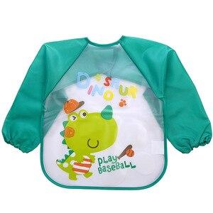 Детский нагрудник для мальчика, водонепроницаемый нагрудник с длинными рукавами и изображением Микки и Минни, нагрудник для девочки, детский нагрудник для кормления с карманом, Детский фартук
