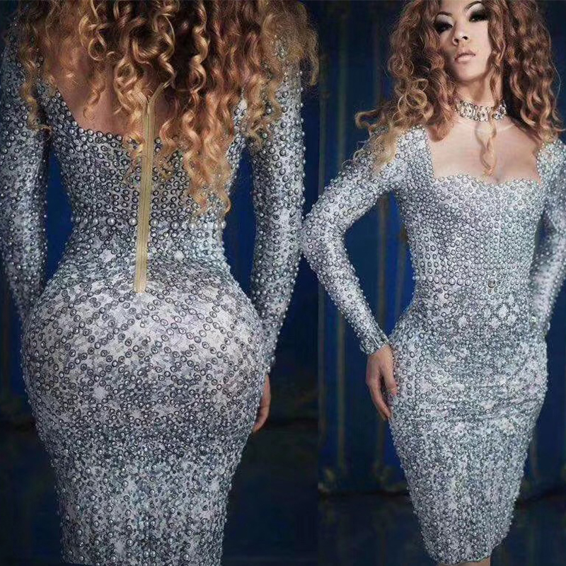Sexy Gray Pearl Crystals Slim Dress Women Singer Evening Party Stage Short Dresses Birthday Nightclub Celebration Bar Wear DT510