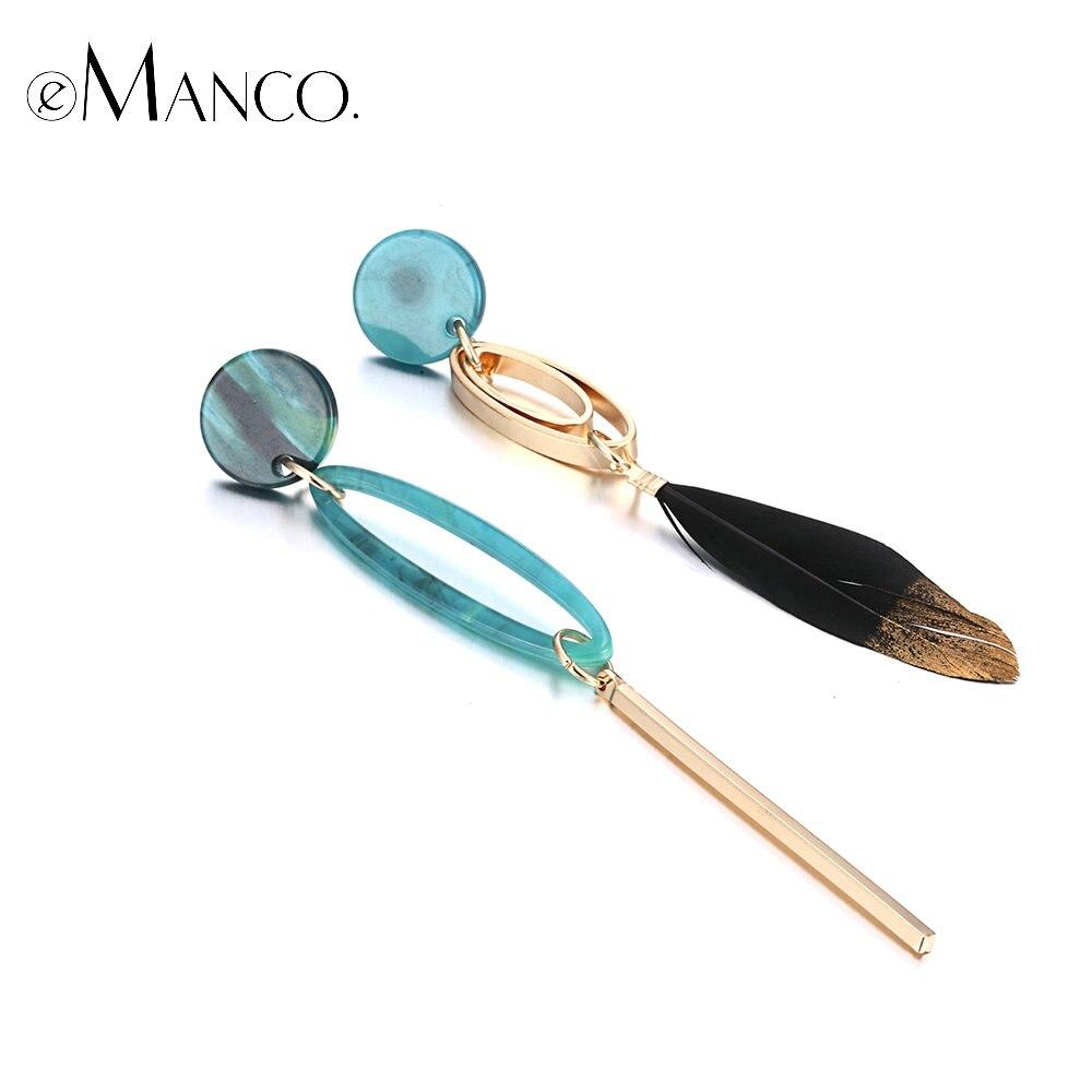1e5fa0f4650b Cheap Pendientes de gota para mujeres Bohemia asimetría azul resina Metal  pluma pendientes joyería de moda