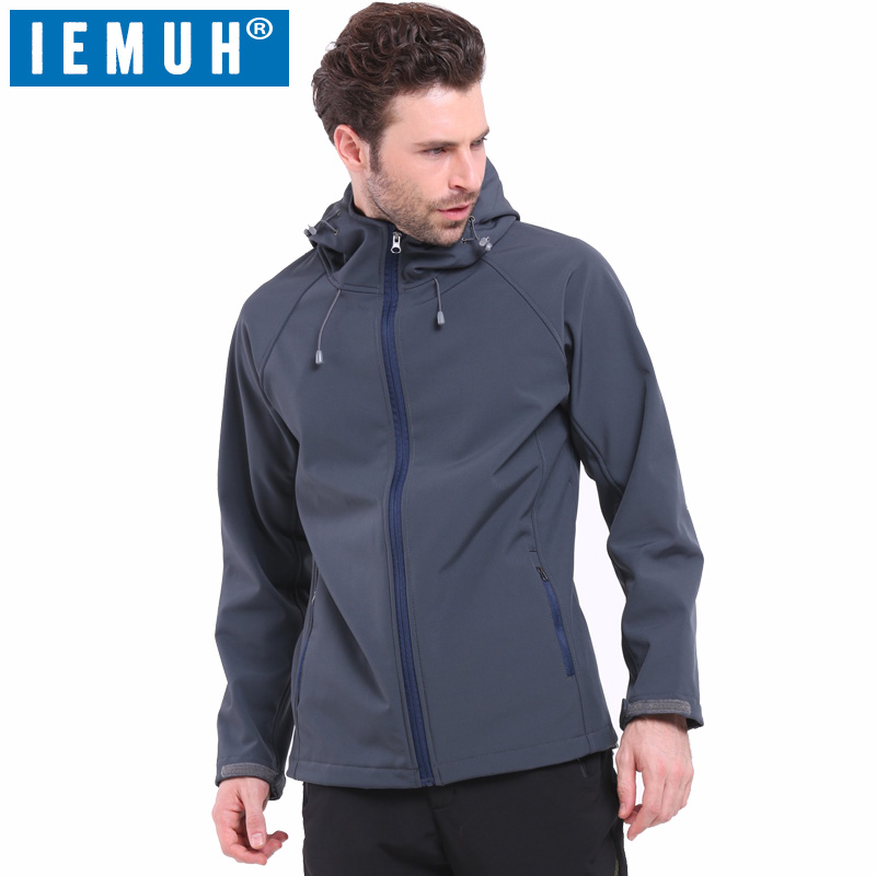 IEMUH Outdoor Soft Shell Fleece Jacket Men Polartec Sportswear Thermal Hunt Hiking Sport Jackets Windproof Warm