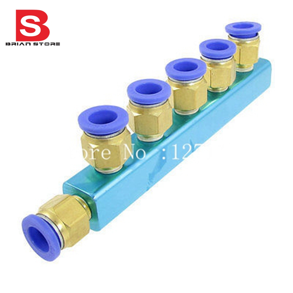 12mm Pneumatic Air Hose Piping 6 Way One Touch Fitting Quick Coupling free shipping 10pcs lot pu 6 pneumatic fitting plastic pipe fitting pu6 pu8 pu4 pu10 pu12 push in quick joint connect