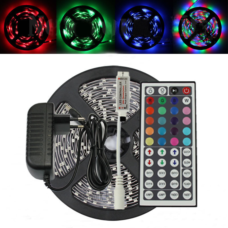 2016 Best price 5m 3528 RGB 300 LED SMD Flexible Light Strip+Mini 44 Key IR+12V 2A Power Supply Non Waterproof