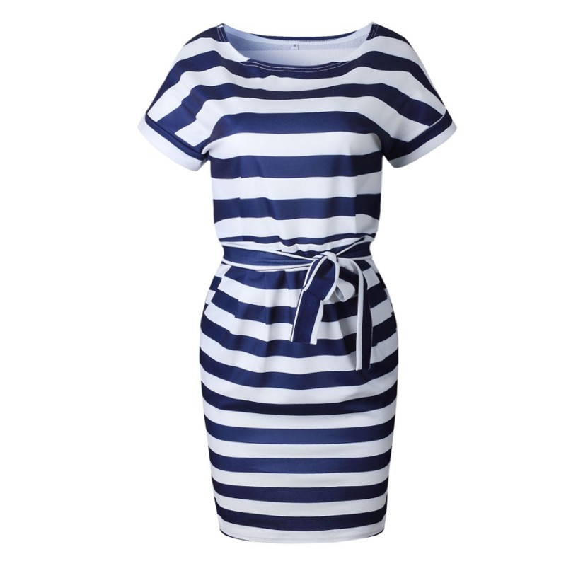 DeRuiLaDy 2019 New Women Office Kobs Summer Dress Sexy O Neck Short Sleeve Belt Bodycon Striped Dresses Casual Vestidos Sundress