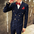 M-XXL ! 2016 New Men's small suit Korean slim dark pattern double breasted suit three piece suit formal dress singer costumes