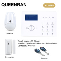 433MHz GSM PSTN Auto Dial Alarm System with Spanish/English/French Voice Prompt,can Link 8 Wired Sensor and 32 Wireless Sensors