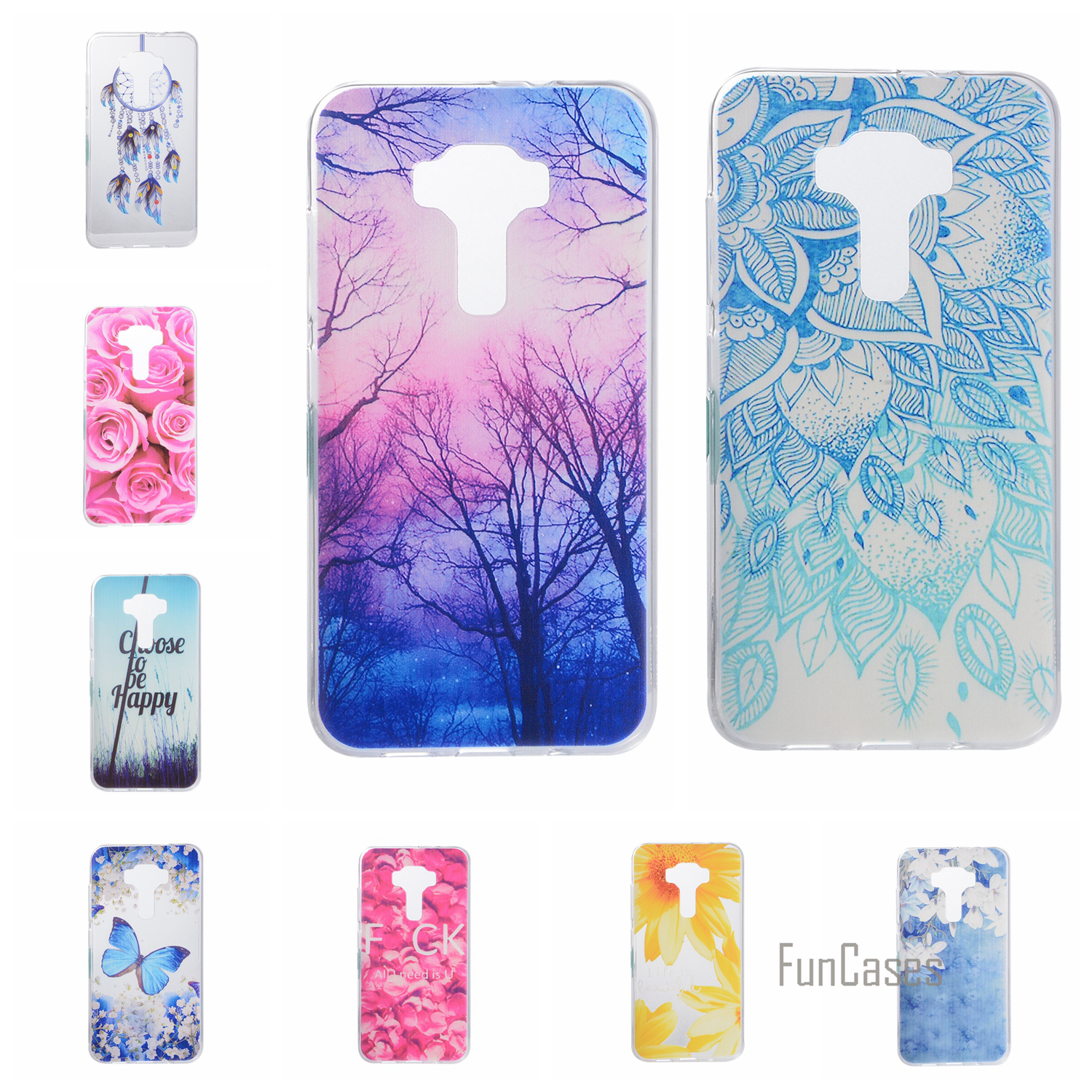 Cartoon Flower Butterfly Bear Tree Cute Back Cover Silicon Soft TPU Mobile Phone Case For ASUS ZE552KL coque Zenfone 3 ZE552KL :