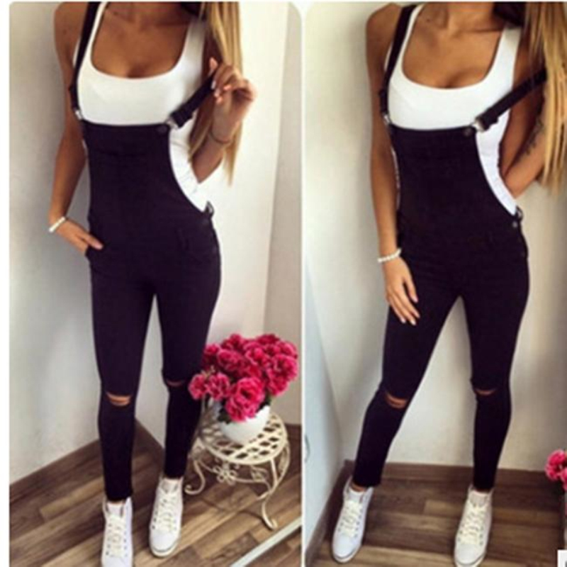 Fashion Holes Women Overalls Bodycon Casual Bib Full Length Dungaree Overalls Women Long Pants Trousers Pockets DP807730