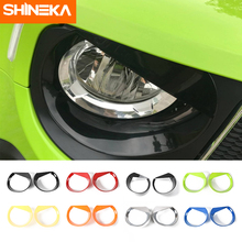 SHINEKA Lamp Hoods For Jeep Renegade 2016-2018 2pcs Headlight Cover Bezels for Stickers Car Exterior Accessories