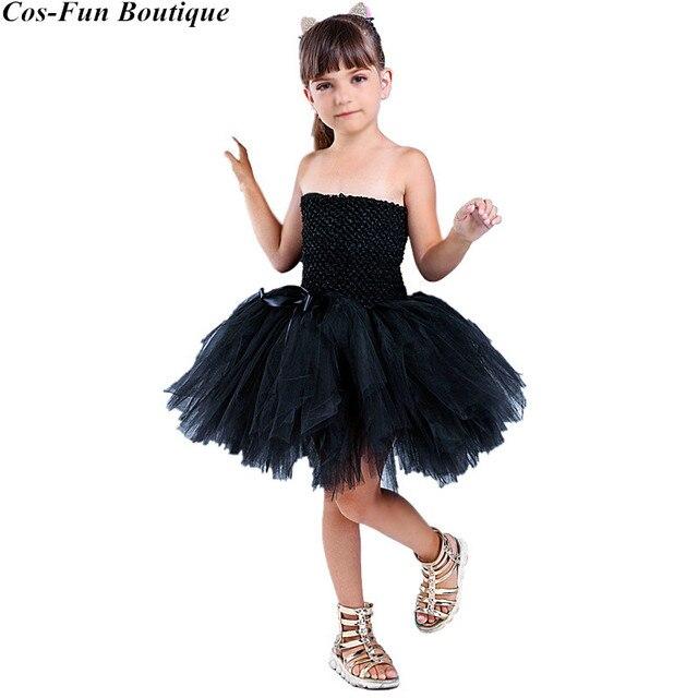 PRINZESSIN TUTU Schwarz Katze Mädchen Kleid Ärmellose Tüll Sexy Kostüm Mädchen  Party Kleid Tier Halloween Kostüme d7d378af50