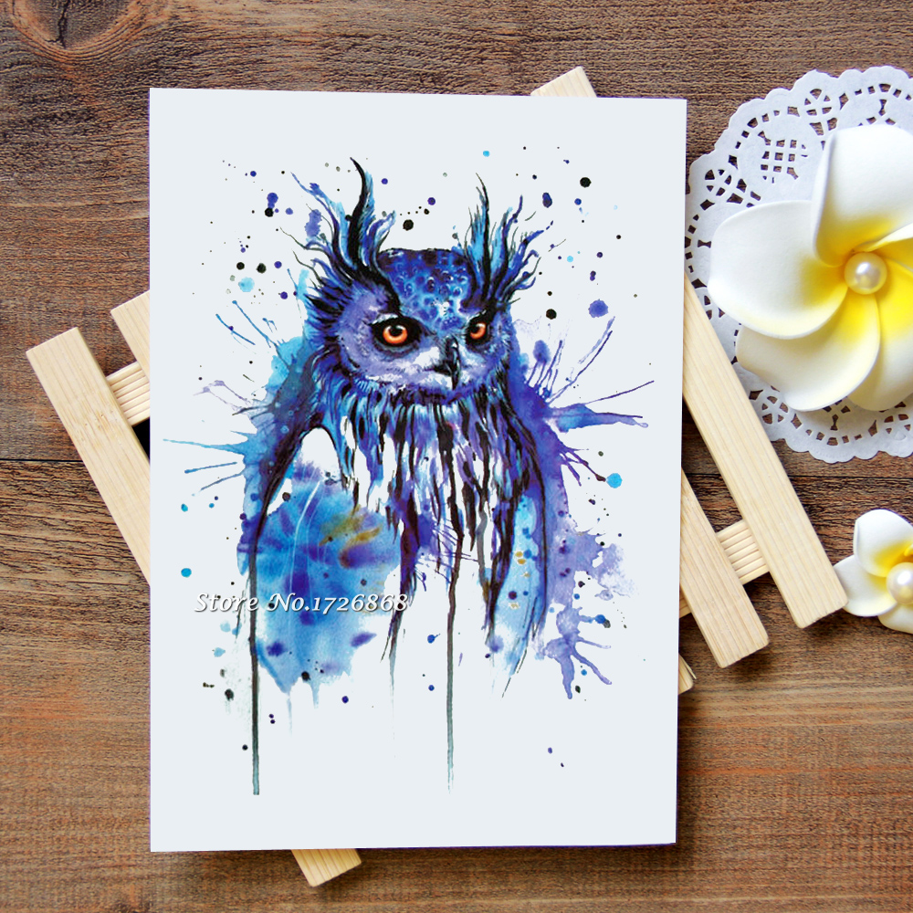 Waterproof Temporary Tattoos Stickers Fantasy Owl Tattoo Flash Water Transfer Tattoos Fake Tattoos For Women Men #255
