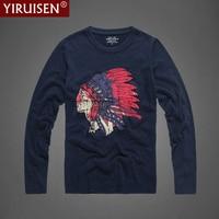 YiRuiSen Brand Clothing Indian Style Fashion Long Sleeve T Shirt Men 100% Cotton T shirs Spring Autumn Casual T Shirts For Men