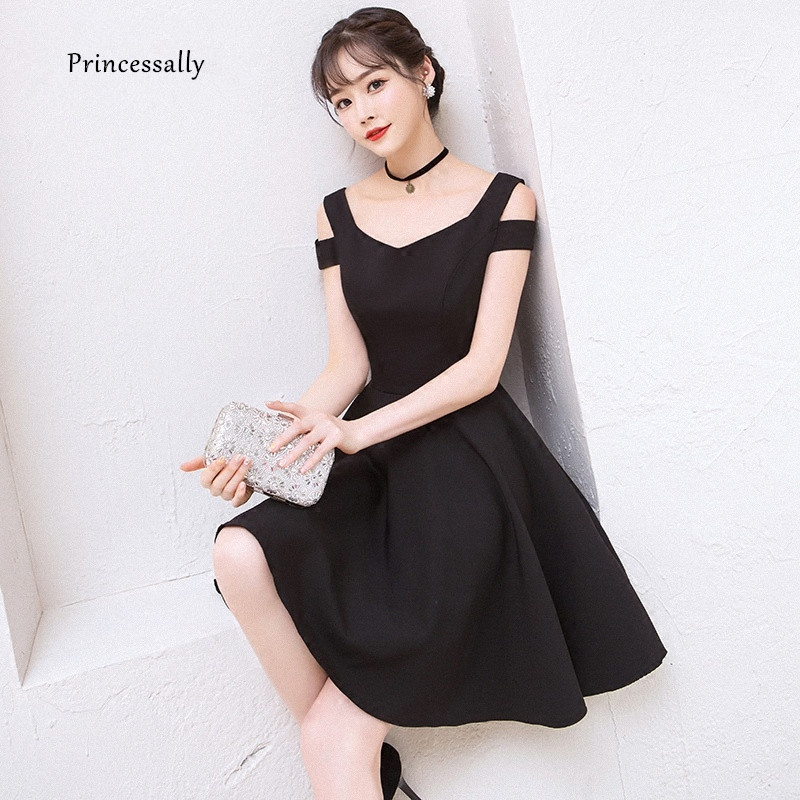 New Black Cocktail Gown Cute Above the Knee Elegant Formal Graduation Party Simple Party Cocktail Dress 2018 Vestido Preto cocktail dress